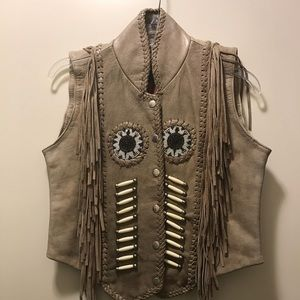 Leather Vest w/ bead work and tassel